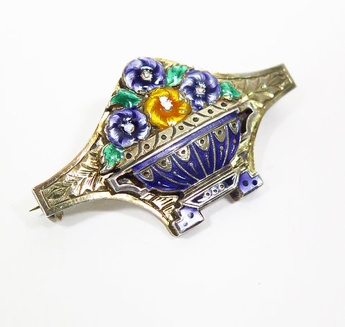 1930s Enamelled Silver Brooch