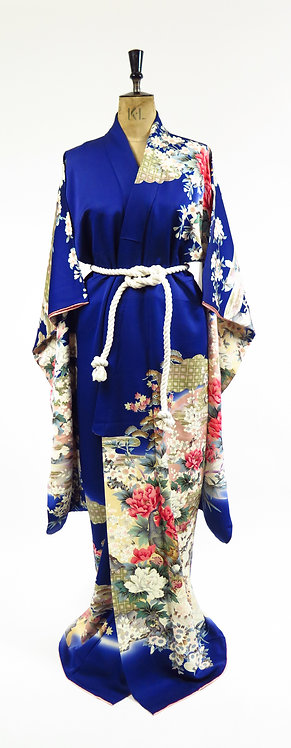 Vintage Navy Silk With Peonies, Blossoms And Pine Print Kimono