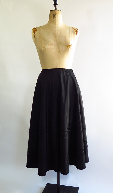 1950s Black Satin Skirt