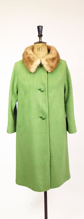 1950s Pea Green Cashmere With Blond Mink Fur Collar