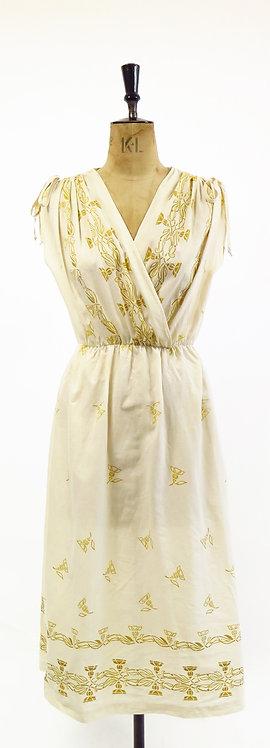 Vintage 1970s Kaisu Heikkila Semi Sheer Cotton Dress
