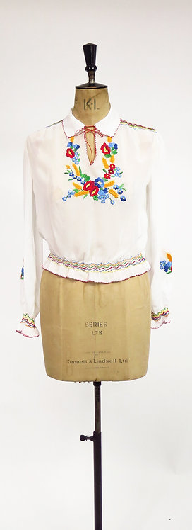 1970s Hungarian Embroidered Blouse