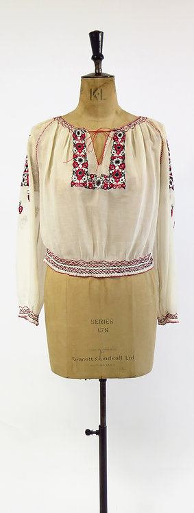 Original 1930-40s Hungarian Hand Embroidered Peasant Blouse