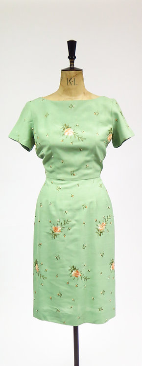 1950s Green With Floral Rose Embroidery Tailored Summer Dress