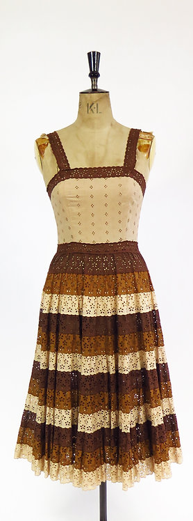 1970s Tiered Lace Prairie Boho Sleeveless Dress