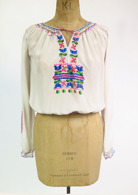 1940s Hungarian Embroidered Blouse