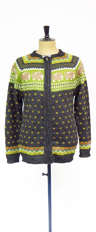 1970s Hand Knitted NorwegianPatterned Wool Cardigan