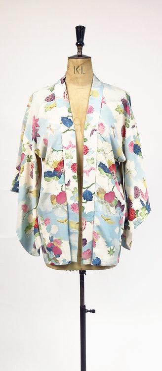 Vintage 1950s Silk Haori Blue Floral Printed Kimono Jacket