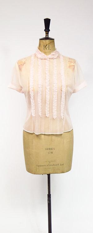 Vintage 1950s Sheer Pink Blouse
