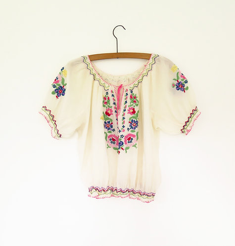 1950s Hungarian Embroidered Blouse