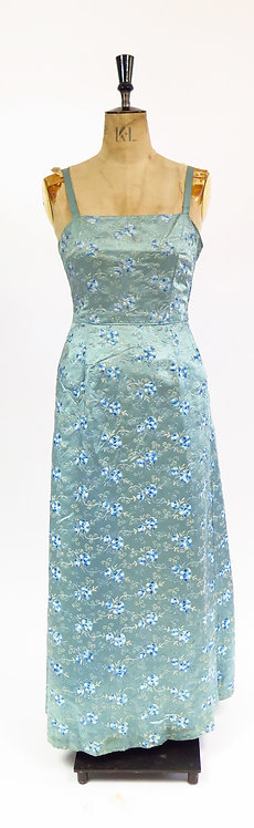 1950s Silver Embroidery Hand Made Cocktail Dress