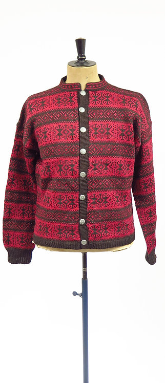 1950s Norwegian Patterned Hand Knitted Cardigan