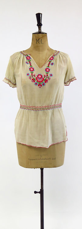Vintage 1920-30s Deco Hungarian Embroidered Peasant Blouse