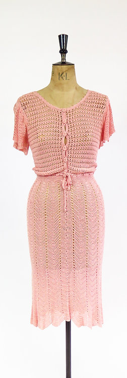 Vintage 1970s Does The 1930s Pink Hand Crocheted Lace Tea Dress