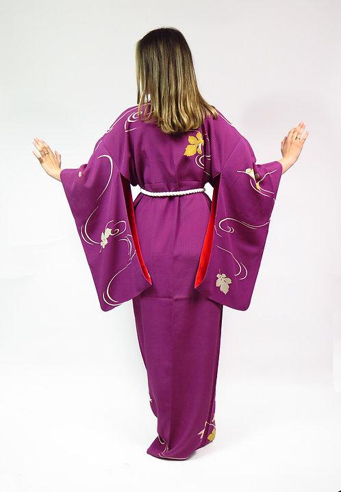 1950s Purple And Red Leaves Silk Kimono