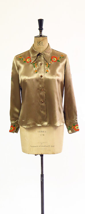 1940s Embroidered Satin Cowgirl Western Blouse