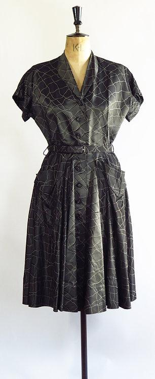 1950s Silver Metallic Evening Dress