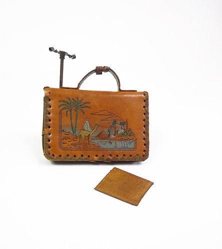 Vintage 1930s Egyptian Revival Deco Souvenir Tooled Leather Bag Purse