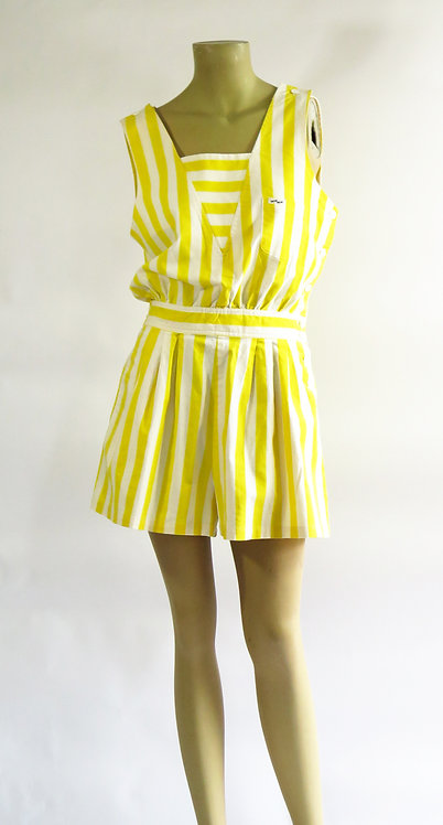 1980s Yellow Striped Playsuit