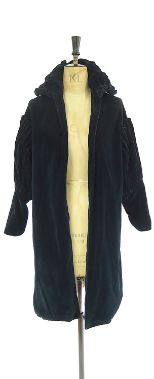 1920s Flapper Navy Cord Evening Coat