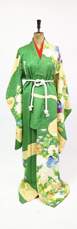RESERVED - Vintage Green Floral Silk Kimono