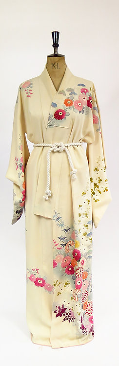Vintage 1980s Cream Silk Mix Crepe With Vibrant Meadow Printed Blossoms Kimono R