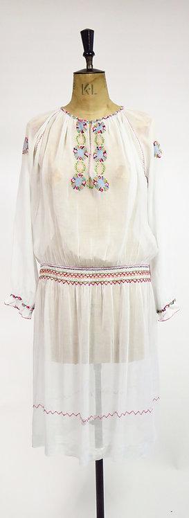 1920s Embroidered Drop Waist Dress