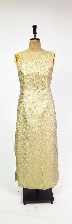 Vintage 1950-60s Gold Brocade Cocktail Dress