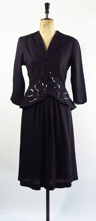 1940s Sequin Peplum Dress