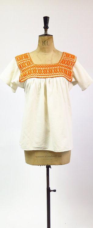 1970s Embroidered Smock Peasant Blouse