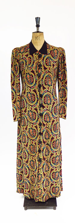 Vintage 1930s Deco Embroidered Tailored Full Length Coat