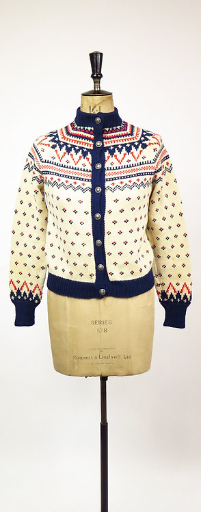 1950s Norwegian Hand Knitted Patterned Ski Cardigan