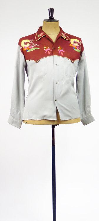 Original Vintage 1940s Embroidered Western Shirt