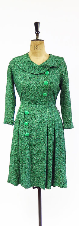 1950s Green Patterned Button Detail Cotton Swing Dress