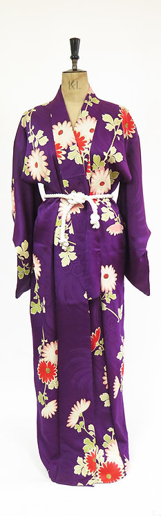 1940s Deco Style Purple With Floral Pattern Silk Kimono