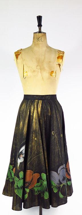 Original 1950s Hand Painted Full Circle Skirt