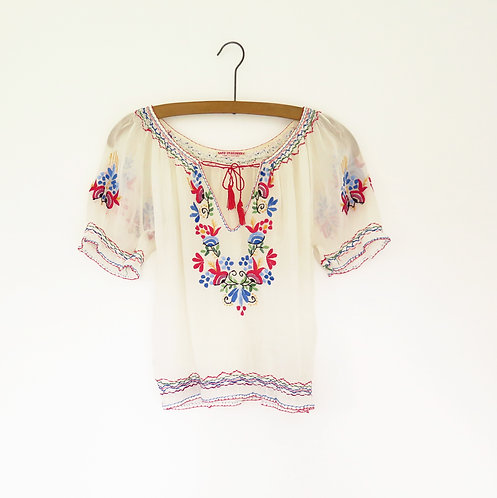 1930s Hungarian Embroidered Blouse