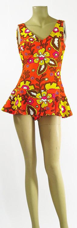 1970s Floral Swimsuit