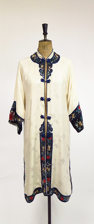 1950s Silk Jacquard Embroidered Robe