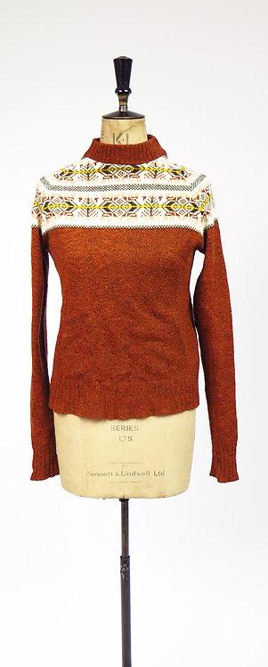 1970s Russet Shetland Edinburgh Woollen Mill Knitted Jumper