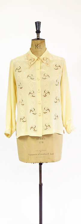 1950s Cream Silk Hand Embroidered Blouse