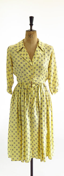 Vintage 1980s Does The 1950s Yellow Patterned Tea Swing Dress