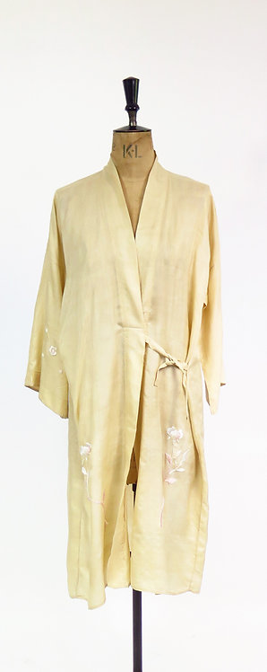 1920s Hand Embroidered Silk Robe