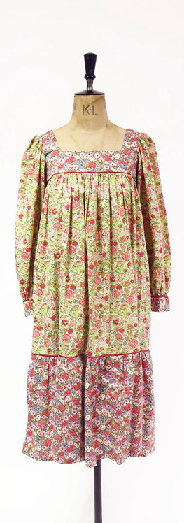 RESERVED - 1970s Handmade Liberty Print Fabric Dress