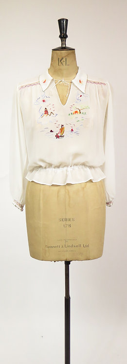 1930-40s Embroidered Peasant Blouse