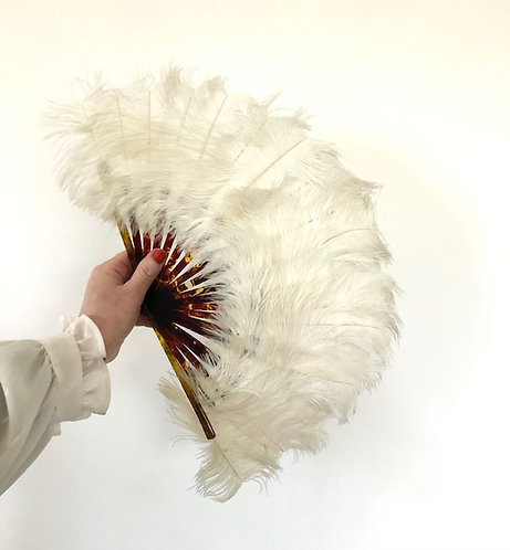 1920s Deco Flapper Feather Hand Fan