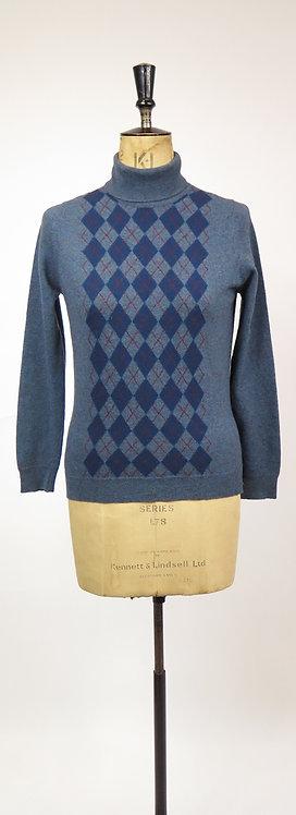 Vintage 1960-70s Jaeger Blue Patterned Roll Neck Knitted Jumper