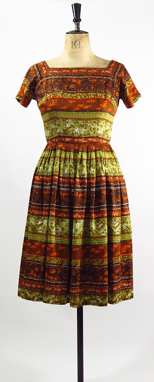 1950s Green Patterned Day Dress