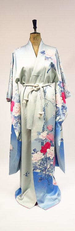 1980s Sky Blue Floral Peonies Silk Furisode Kimono Robe