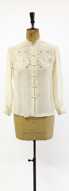 Vintage 1950s Chinese Hand Embroidered Silk Blouse